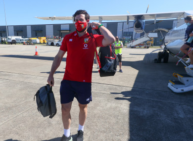 Henshaw arriving in Jersey with the Lions yesterday.