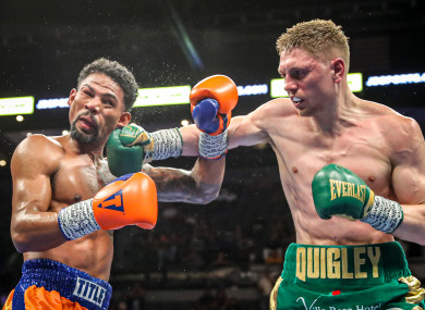 Jason Quigley lands a right hand on Shane Mosley Jr.