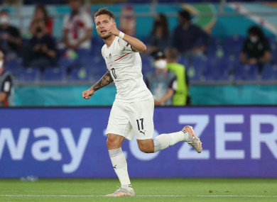 Ciro Immobile of Italy celebrates after scoring during the group A match between Turkey and Italy.