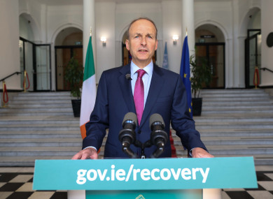 Taoiseach Michael Martin addressing the nation at Government Buildings today.