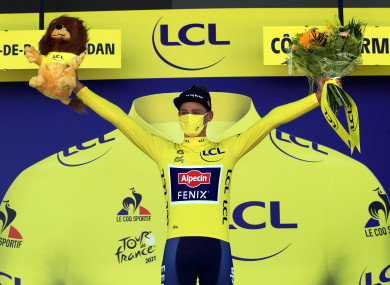Mathieu van der Poel celebrates after his stage 2 win.