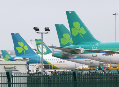 File image of Aer Lingus planes at Dublin Airport.