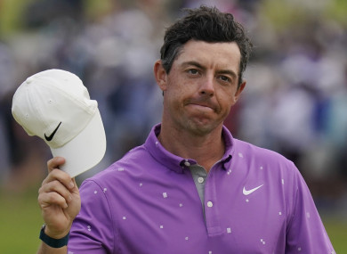 Rory McIlroy tips his cap after completing his final round at the