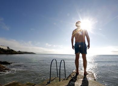 Simon Morgan gets ready for his morning swim at Vico Bathing Place, Dublin.