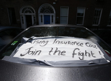 A sign at a protest against rising insurance costs in Dublin in 2016