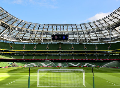 A general view of the Aviva Stadium before Bohemians' Europa Conference League clash last night.