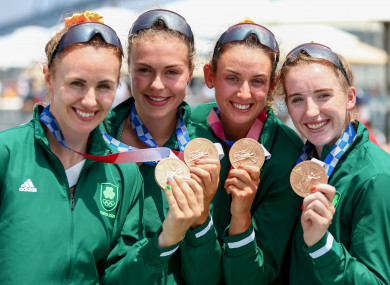 Aifric Keogh, Eimear Lambe, Fiona Murtagh and Emily Hegarty pose with their medals.