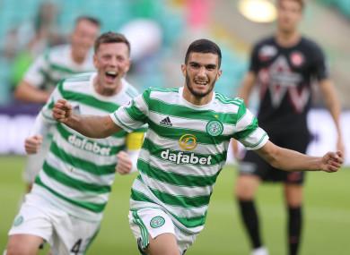 Celtic's Liel Abada celebrates scoring.