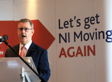 Newly elected DUP leader Jeffrey Donaldson speaking today.