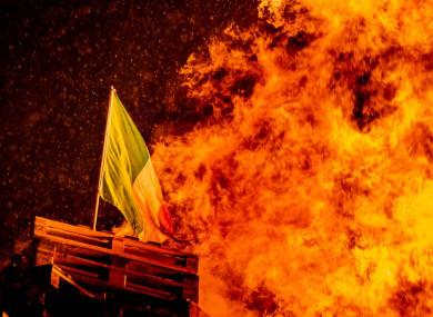File image: An 11th Night bonfire burns in Belfast.