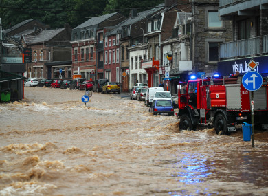 A view of a flooded street in Liege region, Belgium, after heavy rainfall.
