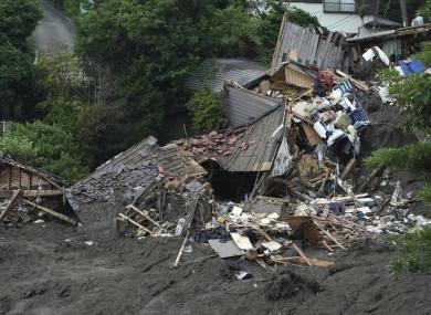 Damaged houses after the landslide in Atami, Japan