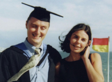 Murdered British backpacker Peter Falconio and Joanne Lees at a beach