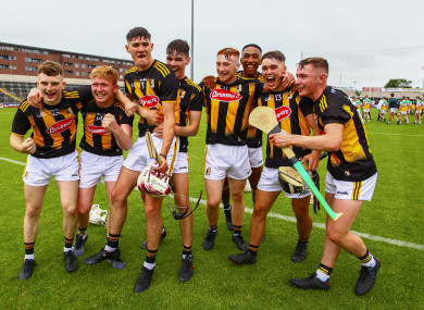 Kilkenny players celebrate their Leinster minor final victory.
