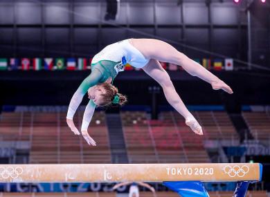 Ireland's Megan Ryan competing on the beam.