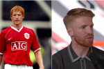 Then and now: McShane, left, in action in a United friendly game in 2006 and pictured at the confirmation of his return to the club.