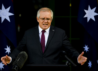 Australian Prime Minister Scott Morrison speaks to the media during a press conference in Canberra