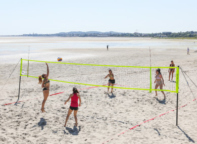 Volleyball players on Sandymount Strand in Dublin today