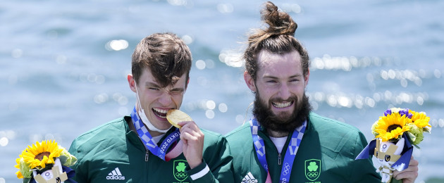 Fintan McCarthy and Paul O'Donovan, gold, on the podium for the Lightweight Men's Double Sculls