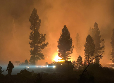 The wildfire burning last Saturday.