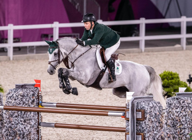 Cian O'Connor on Kilkenny during the  Individual Jumping Final.