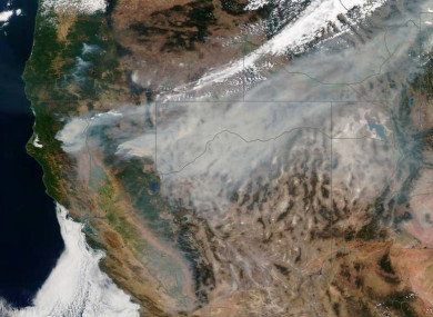 Wildfires in the western US as seen from above