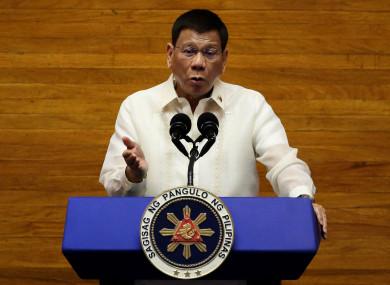 File image of Philippines president Duterte last month.