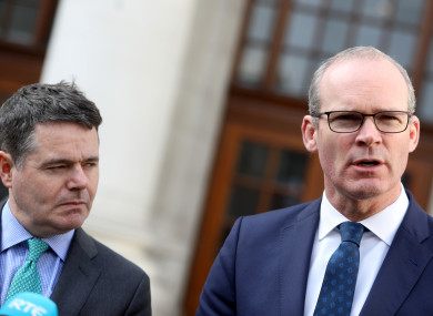 Finance Minister Paschal Donohoe and Foreign Affairs Minister Simon Coveney
