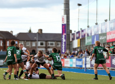 A general view of action during the Connacht-Ulster game.