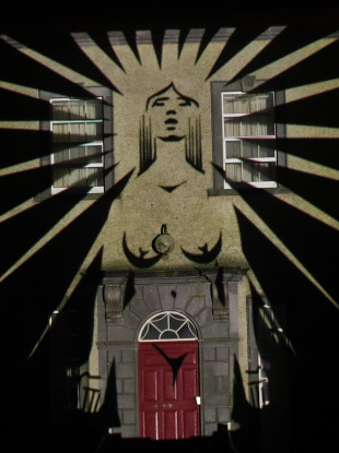 An image is projected onto Sean Ross Abbey in Tipperary as part of the Herstory Light Show on St Brigid's Day 2021