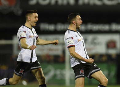 Michael Duffy celebrates after his goal for Dundalk.