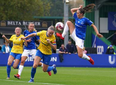 Louise Quinn battling for the ball during the FA Women's Super League match.