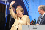 Angela Merkel during an election rally of the Christian Democratic Union earlier this week.