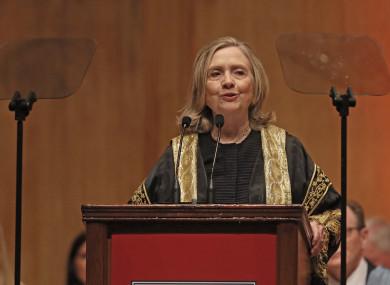 Hillary Clinton today speaking at Queen's University Belfast.