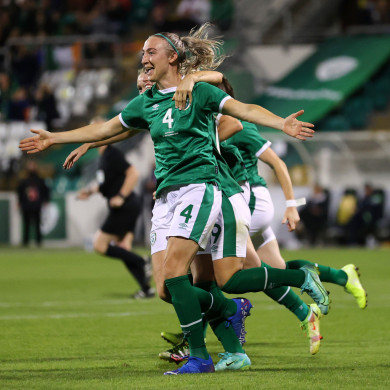 Ireland's Louise Quinn celebrates scoring her side's third goal.