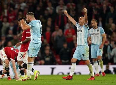 Mark Noble celebrates at the final whistle.