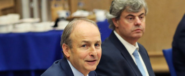 Taoiseach Micheál Martin and his department's Secretary General Martin Fraser at a meeting in Dublin Castle last year