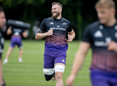 RG Snyman at a Munster training session on Tuesday.