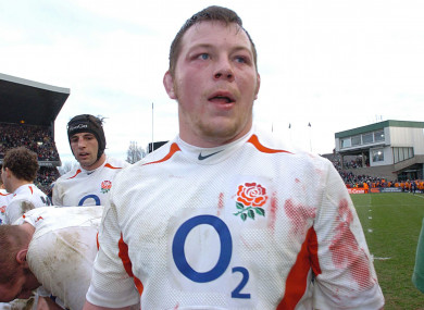 Steve Thompson in action for England at Lansdowne Road in 2005.
