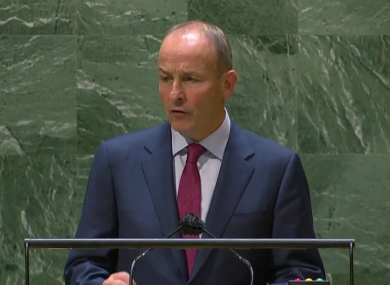 Martin speaking at the UN General Assembly.