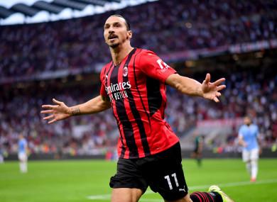 Zlatan Ibrahimovic celebrating a goal against Lazio on Sunday.