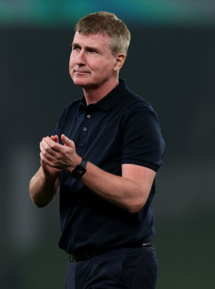 Ireland manager Stephen Kenny applauds the fans after the Serbia game.