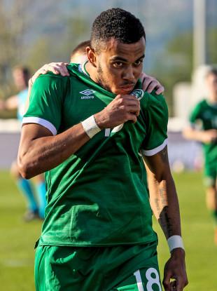 Ireland's Tyreik Wright celebrates after scoring.