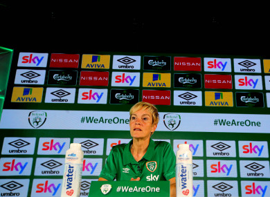 Vera Pauw speaking at the announcement of Sky as primary sponsors of the women's team last week.