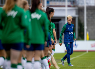 Vera Pauw with her squad at training this evening.