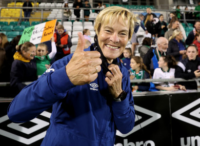 Vera Pauw celebrating after the game.