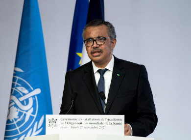 WHO Director-General Tedros Adhanom Ghebreyesus speaking at the ceremony for the opening of the World Health Organisation Academy in Lyon yesterday.