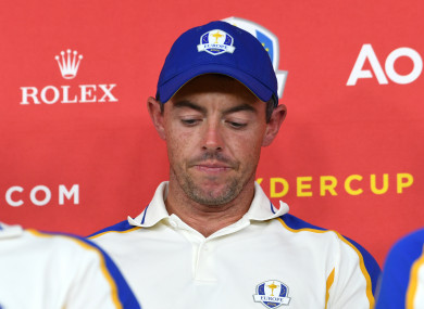 Rory McIlroy during a press conference after defeat to Team USA at the Ryder Cup.