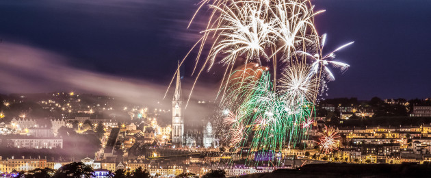 A licenced fireworks display above the town of Cobh at the annual People's Regatta.