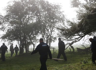 Gardai searching a wooded area near Usk Little, Kildare, in relation to investigations into the disappearance of women in the Leinster area including Deirdre Jacob and Jo Jo Dullard.
